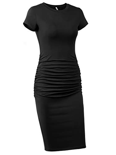 Missufe Women's Ruched Bodycon Sundress Knee Length Sheath Casual T Shirt Dress (Black, Large)