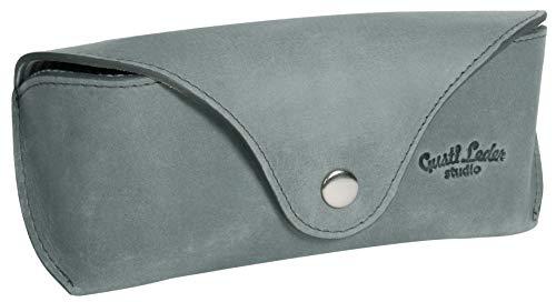 Gusti Brillenetui Leder - Cornelius Brillenhülle Brillentasche Lederetui Etui Aufbewahrung für Brillen Leder Grau