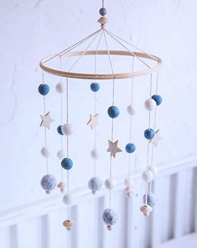 laten we Baby Crib Mobile, Vilt Ball Mobiele Kwekerij Plafond Mobiele Wind Chimes Bed Bell Rammelaar Speelgoed Opknoping Ornamenten voor Baby(Purple) F115#2@HJ