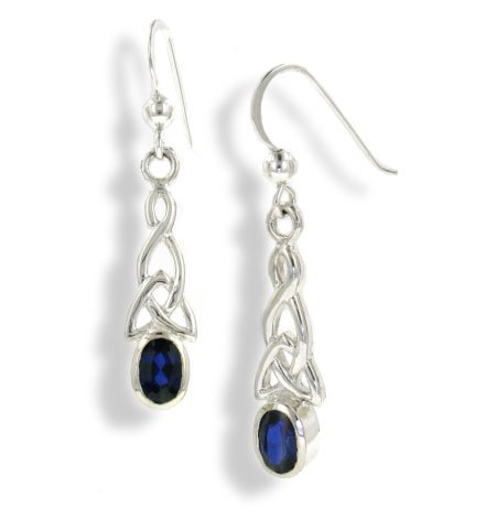 Sterling Silver Celtic Knot and Created Blue Sapphire Hook Earrings