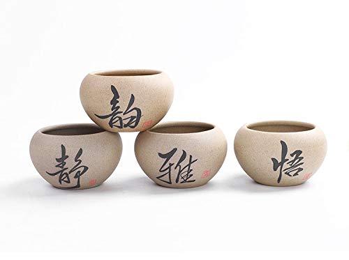 GNEGNI Rotondo Ceramica vasi succulente Cactus fioriera Vaso di Fiori Decorativo del Desktop Davanzale Bonsai 4 in Set