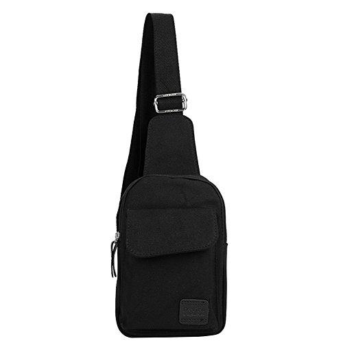 Unisex Brusttasche Daypack für Erwachsene Jugendliche Canvas Umhängetasche Schultertasche mit Verstellbarer Schultergurt Sporttasche Freizeit Outdoor Rucksack für Alltagsleben Wandern Reise Schwarz