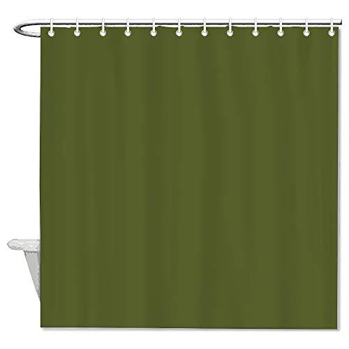 Nonbrand Duschvorhang, einfarbig, aus Stoff, dekorativ, wasserdicht, mit 12 Haken, 182,9 x 182,9 cm, Olivgrün