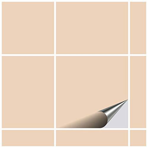 FoLIESEN Fliesenaufkleber 15x15 cm - Fliesen-Folie Bad - Klebefolie Küche - 50 Klebefliesen, Elfenbein glänzend