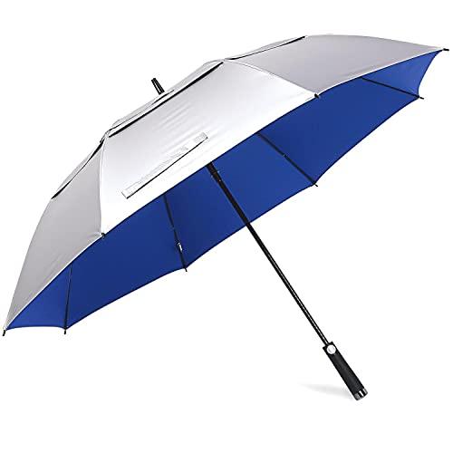 Prospo 68inch UV Protection Golf Umbrella Extra Large Windproof Oversized Heavy Duty Stick Umbrellas Auto Open Double Canopy Vented Sun Rain Umbrella (Blue)