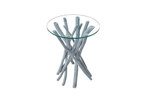 DuNord Design Beistelltisch grau rund Glastisch Holztisch Treibholz Schwemmholz Echtholz Teak Massivholz