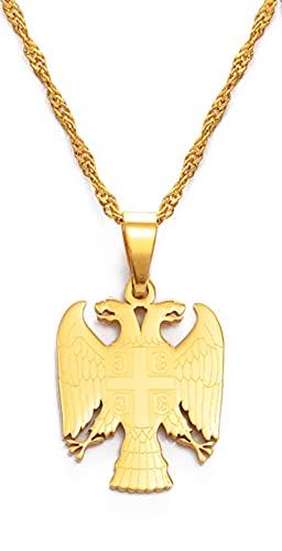 Kkoqmw Collares con Colgante de águila de la República de Serbia para Mujeres, Hombres, Color Plateado/Dorado, joyería Srbija, Regalos serbios