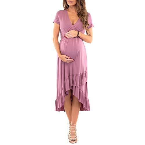 Women's Faux Wrap Hi-Lo Maternity Dress for Baby Shower or Casual Wear