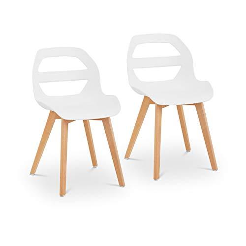 Fromm & Starck Set Sillas para Sala De Espera Cocina Asiento Star_Seat_15 (2 Unidades, hasta 150 kg, Asiento de 40 x 38 cm, Color Blanco)