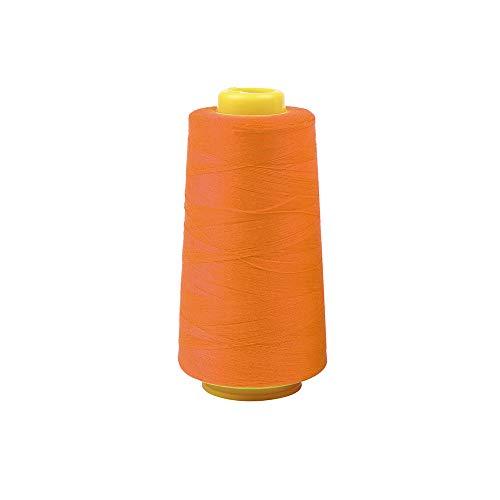 Hilo de coser 3000 yardas Cono de poliéster Carrete multifuncional para Serger Máquinas de coser de una sola aguja Naranja fluorescente