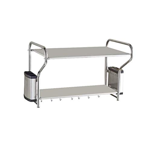 Lengte kan uitschuifbaar hoogte verstelbare keuken onder wastafel 2-tier dikker roestvrij staal zwart magnetron plank onder de werkbladen kruidenrek opslag benodigdheden beugel (externe grootte: L53-90cm X W26cm X H50cm)