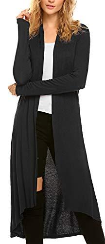 Cardigan for Women Long Sleeve Women's Knitted Comfy Casual Loose Long Open Front Drape Duster Lightweight Duster High Low Hem Kmino Maxi Long Sleeve Summer Black Cardigan (US XXXL(24-26), Black)
