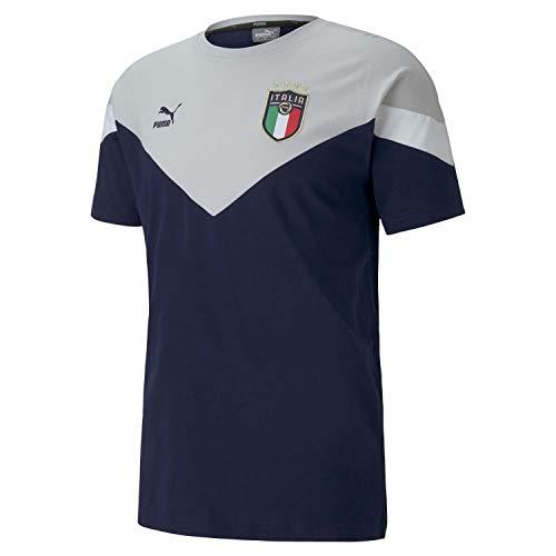 PUMA FIGC Italien Iconic MCS T-Shirt EM 2020 Herren grau/dunkelblau, M