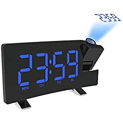 ZCME-power Alarm Clock Radio with Projection on Ceiling,Projection Alarm Clock for Bedrooms, Digital Alarm Clock with LED Display Dimmer, Dual Alarm Clock for Bedrooms Desk