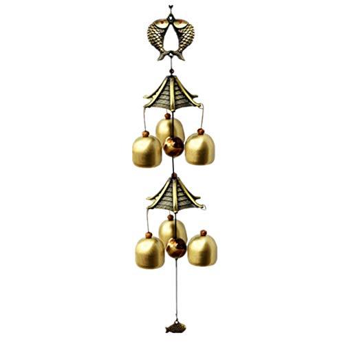 HOSTEESSCHOICE Kleines Windspiel mit 6 Glocken für Garten, Hof, Terrasse, Heimdekoration und Geschenk