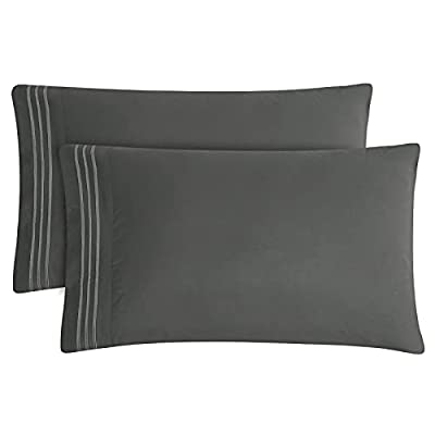 CozyLux King Pillowcase Set of 2 Luxury 1800 Series Brushed Microfiber Bed Pillow Cases Embroidered Dark Grey/Gray Pillow Covers with Envelope Closure