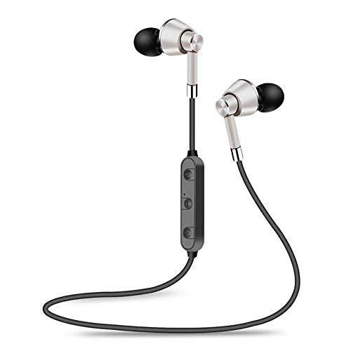 VANKER Auriculares magnéticos Bluetooth 4.1 Cascos inálambrico Deportivos,Auriculares estéreo con Bluetooth inalámbrico Auriculares Deportivos con micrófono_Plata