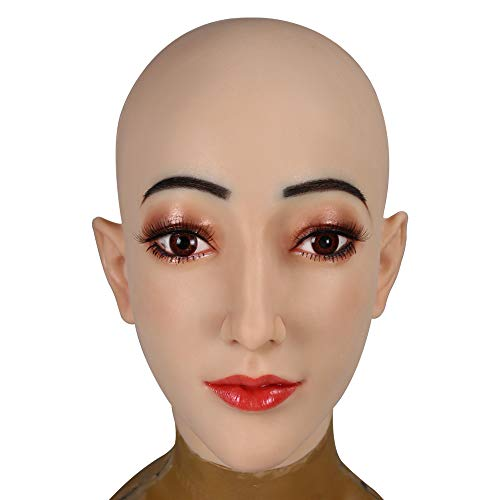 YIQI Silicone Realistic Male to Female Head Mask for Crossdresser Transgender Handmade Costumes Ivory White 5G, Color 1, G3