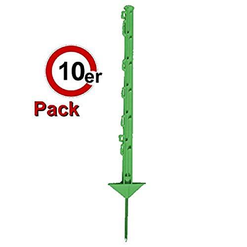 Göbel PP Copo GF Lot de 10 piquets de clôture 75 cm 5 passe-rubans 2 passe-fils avec pointe en acier Vert