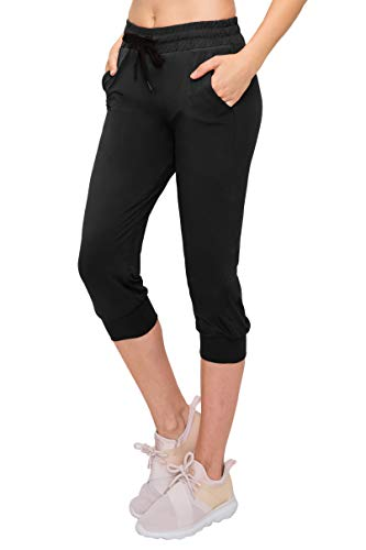 ALWAYS Women's Capri Jogger Pants - Premium Soft Lightweight Skinny Solid Soft Stretch Pockets Sweatpants Black US L