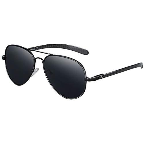 DUCO Polarisierte Sonnenbrille im Pilotenstil mit Carbonfaser-Bügel 3025S (Schwarz)
