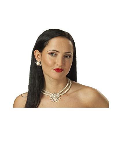 R6140798 - Juego de collar y pendientes de perlas para mujer, color plateado