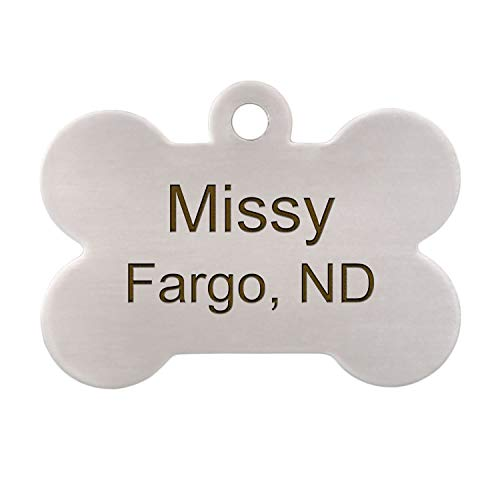 DogIDs Personalized Bone Shaped Dog Identification Tag, Custom Laser Engraved Double Sided ID Tag with S-Hook and Split Ring - Stainless Steel, Large, 1 1/2 in x 1 in