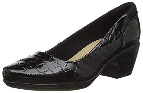 Clarks Emily Alexa, Zapatos de Vestir par Uniforme Mujer, Cocodrilo Negro, 39 EU