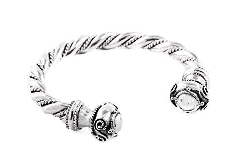 Windalf Pulsera de vikingo maciza hecha a mano para hombre, RABAN, diámetro de 6,5 cm, joya celta, de plata de ley 925 forjada a mano
