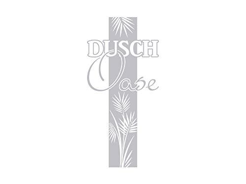 GRAZDesign Fenstertattoo Schriftzug Dusch Oase mit Palmen-Blätter, Fensterfolie für Badezimmer / 84x40cm