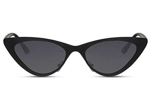 Cheapass Gafas de Sol Metal Cat Eye Sunglasses Matt Black con Lentes Oscuras Diseño Moderno Shades protección UV400 Women