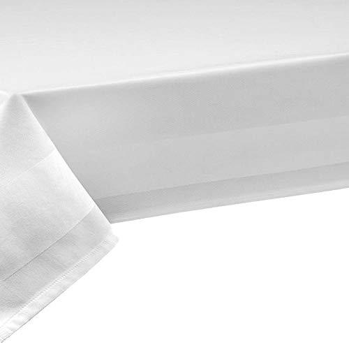 100% Baumwolle Meterware Tischdecke Damast Farbe & Länge wählbar Weiß 140 x 340 cm mit 2 seitiger Atlaskante Eckig