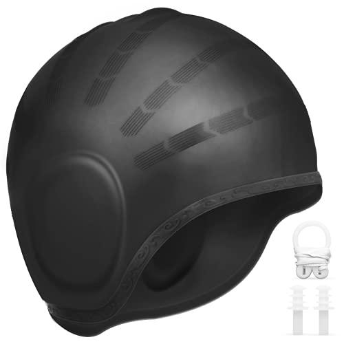 AUGOLA Silikon Badekappe wasserdichte Schwimmkappe Bademütze für Frauen und Männer Unisex Schwimmhaube für Kurze und Lange(schwarz)