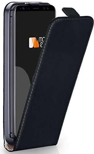 moex Flip Case für Samsung Galaxy S8 - Hülle klappbar, 360 Grad Klapphülle aus Vegan Leder, Handytasche mit vertikaler Klappe, magnetisch - Schwarz