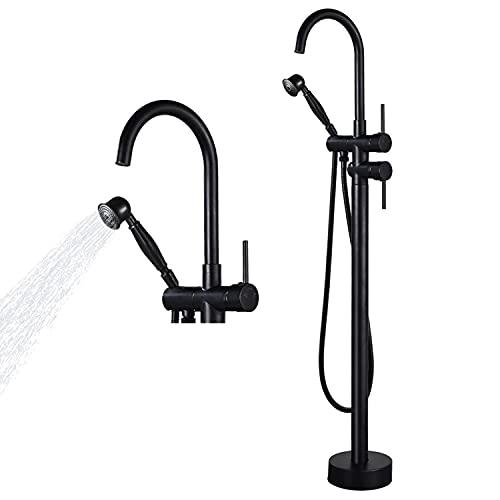 Airuida Freestanding Tub Faucet Black Floor Mount Bathtub Filler with Handheld Shower 360 Degree Swivel Standing High Flow Spout Mixer Taps…