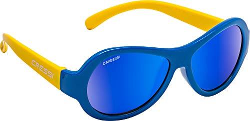 Cressi Scooby Sunglasses Gafas de Sol para niños, Juventud Unisex, Azul/Amarillo/Lentes Espejo Azul, 3-5 Años