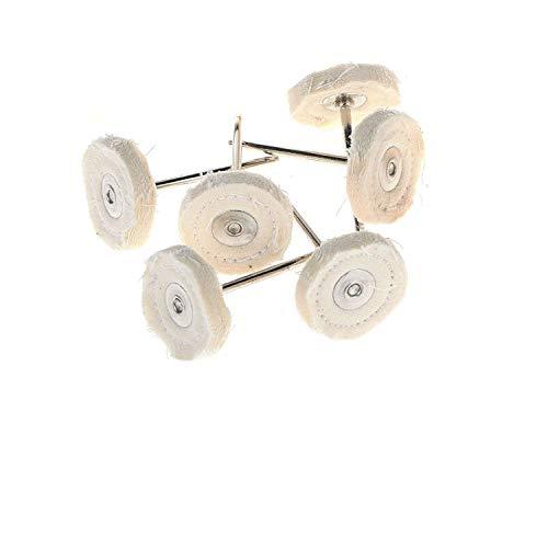 Dtacke 20pcs 1/8inch Shank Round White Fabric Polishing Buffing Cloth Wheel Brush for Power Rotary Tools