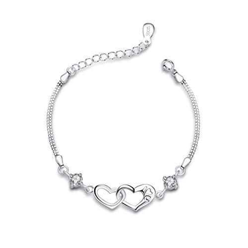 Bo&Pao 925er Sterling Silber Herz neben Herz Damen Armband mit Gravur I Love U, 17,5 + 3,5 cm Verstellbare Platinierte Armkette