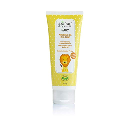 Azafran Organics Baby Massage Oil, 100ml - Gentle Nourishing Skin Care, Suitable for Sensitive Skin, Pure-Natural, Hypoallergenic and Aromatic, Leaves Skin Smooth and Soft