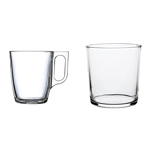 Luminarc Nuevo Set 6 tazas desayuno mugs café de vidrio para microondas 25cl, Negro + Vaso de Pinta, 36 cl, Pack de 4