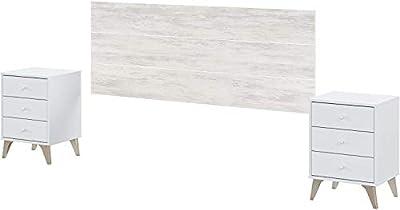 El Conjunto de dormitorio Sweet de estilo escandinavo y toque rústico, se compone de un cabezal y 2 mesitas de 3 cajones apto para camas de 135 y 150 cm. El cabecero mide 160 cm de ancho y 60 cm de alto, se cuelga en la pared e incluye el herraje par...