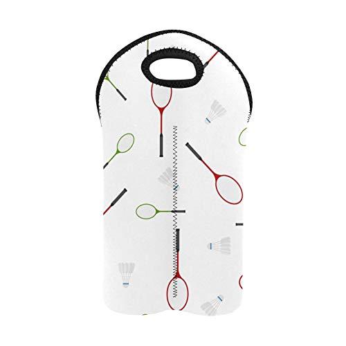 Portabotellas y bolsas de vino Raqueta de bádminton y raqueta de tenis Portador de vino para 2 botellas Portador de botella doble Bolsa de vino de vacaciones Portabotellas de neopr