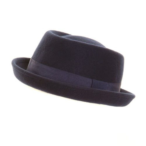 Hawkins - Chapeau Femme Homme Feutrine Trilby PorkPie 100% Laine Tout Neuf - Laine, 57cm, Bleu Marine