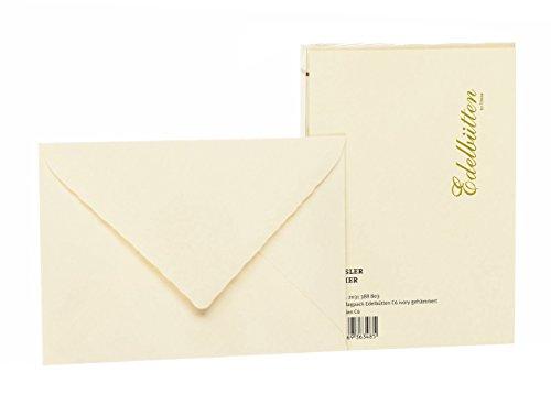 Rössler 2031388803 - Briefumschlagpack C6, Seidenfutter, gehämmert, ivory