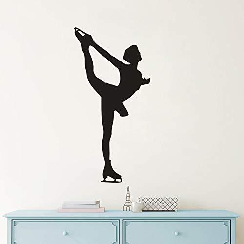 Murales de pared para niñas patinadoras, hermosa bailarina sobre hielo, pegatina de pared para mujer, decoración interior del hogar, arte, calcomanía de pared para patinador A2 42x86cm