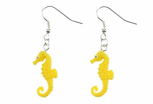 Miniblings Seepferdchen Ohrringe Hänger Seepferd Meer Ozean Aquarium Gummi gelb - Handmade Modeschmuck I Ohrhänger Ohrschmuck versilbert