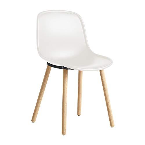 HAY nieuw 12 stoelen, crèmewit RAL 9010 polypropyleen BxDxH 46x52,5x82cm standaard glijders frame massief eiken mat gelakt