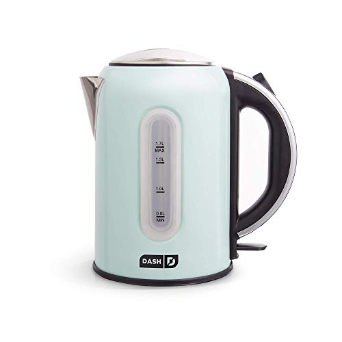 DASH DEK001AQ Electric Kettle + Water Heater with Rapid Boil, Cool Touch Handle, Cordless Carafe, No Drip Spout + Auto Shut Off For Coffee, Tea, Espresso & More, 57 oz  1.7 L - Aqua (Renewed)