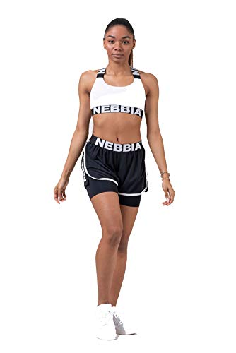 Nebbia, Fast&Fit Double Layer Shorts, Higher Waist, Elastic Inner Tights, Loose Outer Shorts from mesh, Color Black, Size S