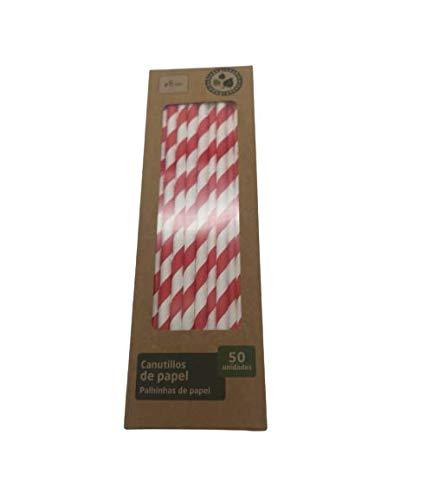 D&M - Cannucce a righe rosse e bianche in cartone, 20 cm, diametro 6 minuti, 50 pezzi